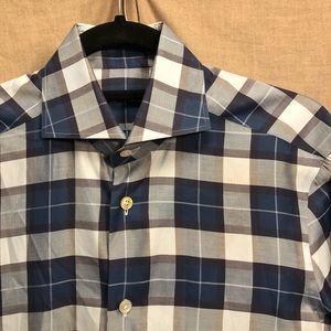 Kiton Men's Blue/purple/silver Plaid Shirt 15/38